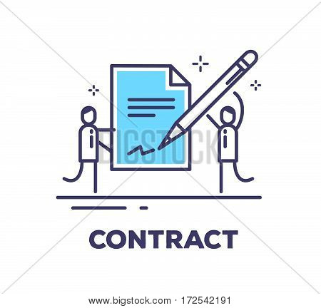 Vector Business Illustration Of Two Men In Suits Are Holding A Big Blue Contract And Put A Signature