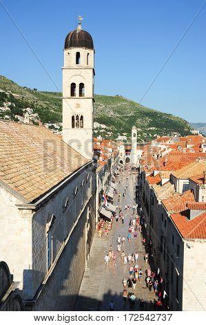 Dubrovnik, Croatia - 22 June 2014: people walking on Placa street at the old town of Dubrovnik on Croatia