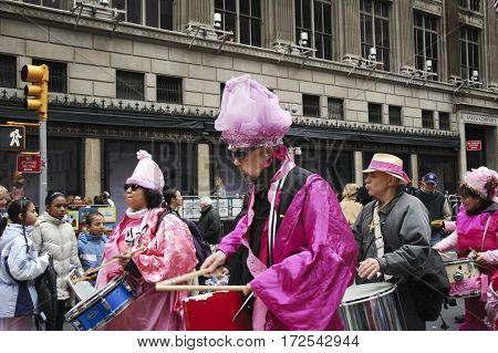 Anti-war 'Code Pink' demonstrators taking part in the Easter Parade on 5th avenue in New York City. March 27 2005 - New York USA