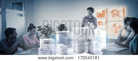 Skycrapers against composite image of global business interface in meeting room