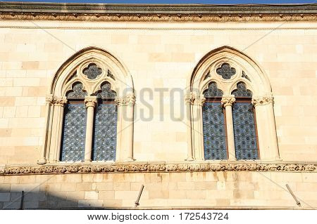 Window of the Rector's Palace at Dubrovnik on Croatia