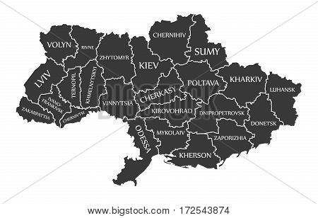 Ukraine Map labelled black illustration mainland silhouette