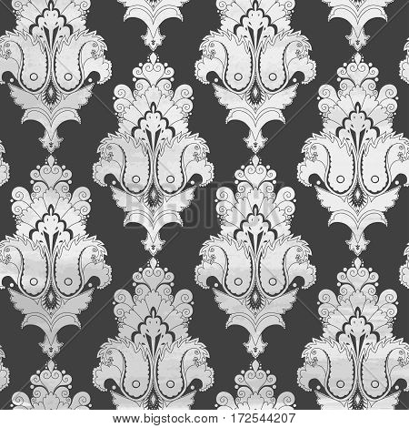 Vintage vector background. Stencils in the form of damask pattern on watercolors substrate.
