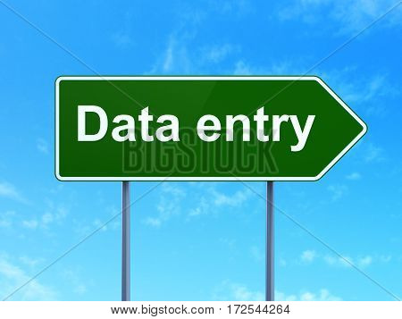 Data concept: Data Entry on green road highway sign, clear blue sky background, 3D rendering