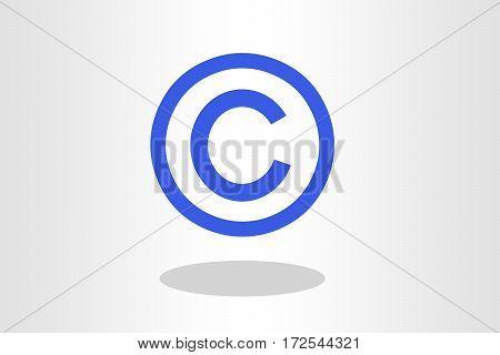 Illustration of copyright sign against plain background