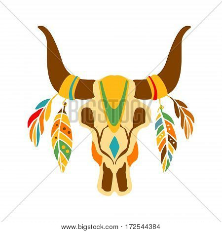 Buffalo Bull Scull Decorated With Painting And Feathers, Native Indian Culture Inspired Boho Ethnic Style Print. Tribal American Stylized Vector Illustration For Hipster Fashion Typographic Template.