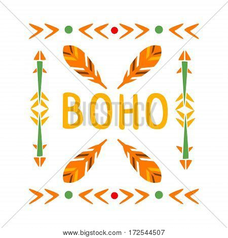 Framing Pattern With Feathers And Arrows, Native Indian Culture Inspired Boho Ethnic Style Print. Tribal American Stylized Vector Illustration For Hipster Fashion Typographic Template.