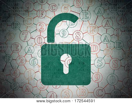 Information concept: Painted green Opened Padlock icon on Digital Data Paper background with Scheme Of Hexadecimal Code
