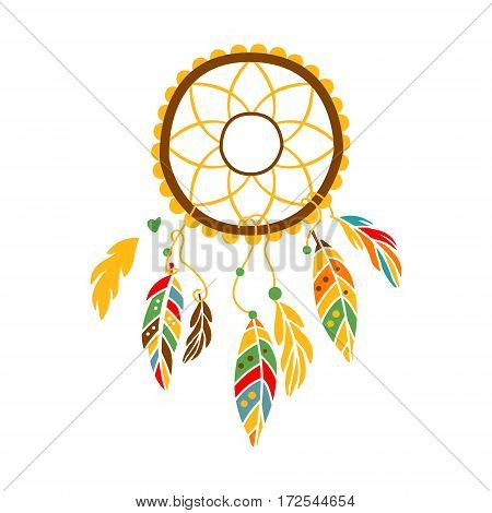 Decorative Dream Catcher With Feathers , Native Indian Culture Inspired Boho Ethnic Style Print. Tribal American Stylized Vector Illustration For Hipster Fashion Typographic Template.