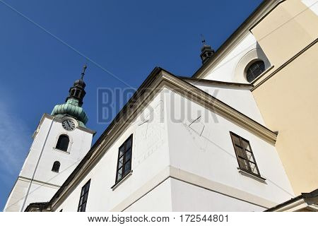 Sundial Church in Svitavy Czech Republic, blue sky