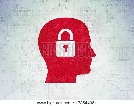 Information concept: Painted red Head With Padlock icon on Digital Data Paper background with  Hexadecimal Code