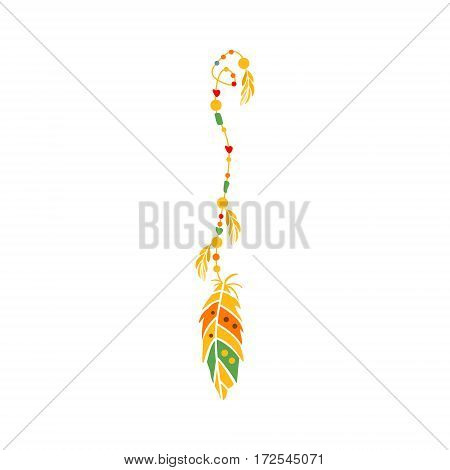 String With The Beads And Feather On The End, Native Indian Culture Inspired Boho Ethnic Style Print. Tribal American Stylized Vector Illustration For Hipster Fashion Typographic Template.