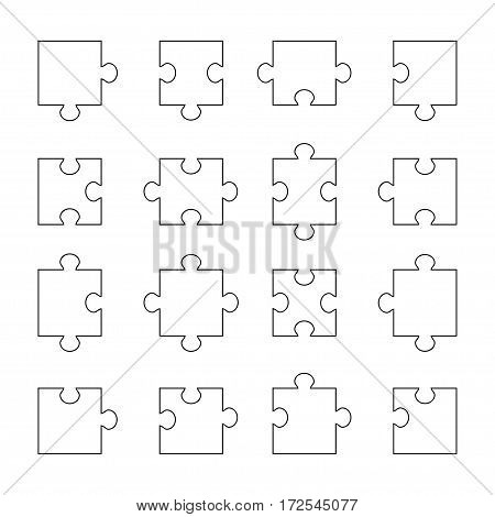 Set of puzzle parts on white background, vector illustration