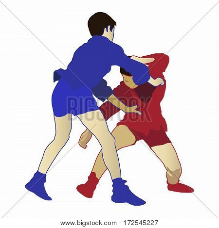 Illustration of two boys engaged in a sambo competition. Concept for Russian combat technique self defense training fighting style sport activity and martial arts. Cutout on white background.