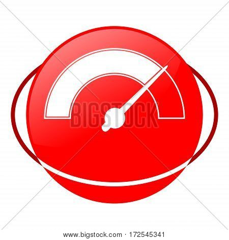 Red icon, pressure gauge vector illustration on white background