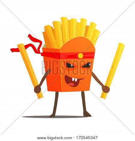 Pack Of Fries With Two Sticks Karate Fighter, Fast Food Bad Guy Cartoon Character Fighting Illustration. Junk Food Menu Item With Evil Face Looking For A Fight Vector Drawing.