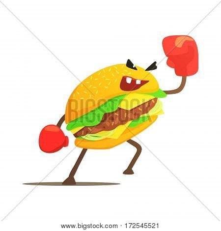 Burger Sandwich Box Fighter In Gloves, Fast Food Bad Guy Cartoon Character Fighting Illustration. Junk Food Menu Item With Evil Face Looking For A Fight Vector Drawing.