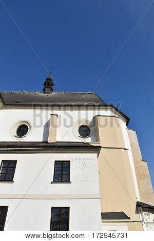 Sundial Church in Svitavy Czech Republic, blue sky.