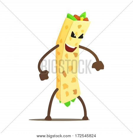 Burrito Wrap Street Fighter, Fast Fo. Junk Food Menu Item With Evil Face Looking For A Fight Vector Drawing.od Bad Guy Cartoon Character Fighting Illustration