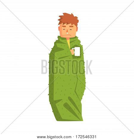 Guy Wrapped In Blanket With Hot Drink Having Cold, Adult Person Feeling Unwell, Sick, Suffering From Illness. Cartoon Character Unhealthy With Sicknesses Symptoms In Need Of Medical Treatment.