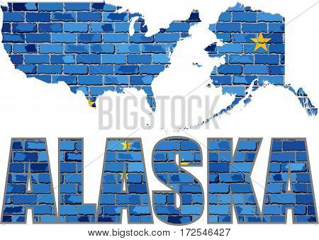 Alaska on a brick wall - Illustration, Font with the Alaska flag