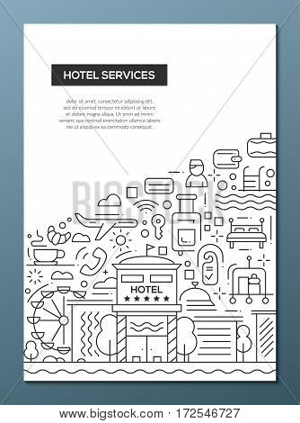Hotel services - vector plain line design brochure poster, flyer presentation template, A4 size layout.