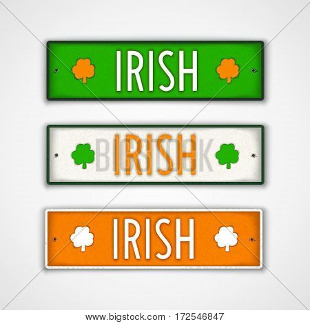 Irish. Set of stylized badges in style car license plate. The colors of national flag Ireland. Vector design elements.