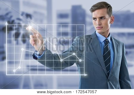 Well dressed young businessman gesturing against documents are posing on the desk