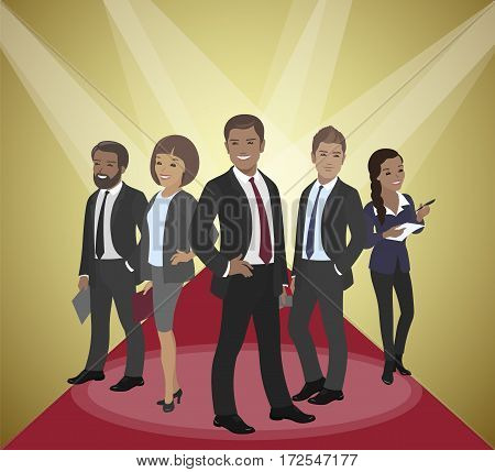 Business team of employees and the boss international group vector illustration rays, fame, success