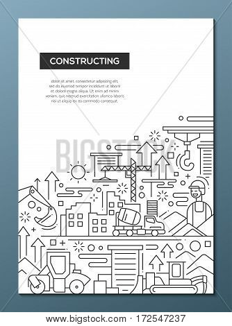 Constructing - vector plain line design brochure poster, flyer presentation template, A4 size layout.