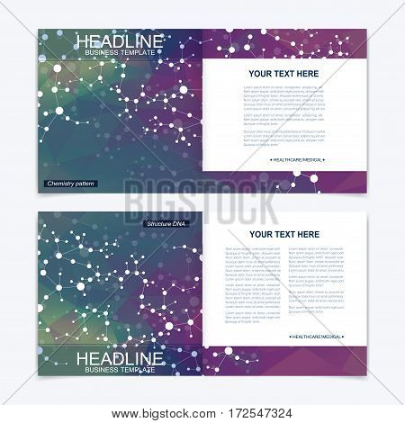 Templates for square brochure. Leaflet cover presentation. Business, science, technology design book layout. Scientific molecule background,
