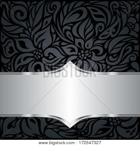 Decorative black & silver floral luxury background design