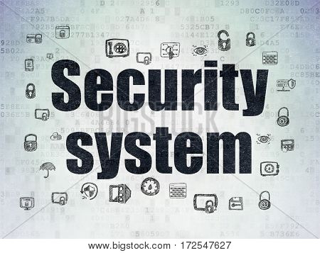 Security concept: Painted black text Security System on Digital Data Paper background with  Hand Drawn Security Icons