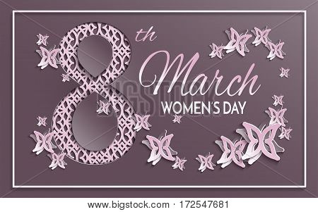 Vector illustration of International women's day 8 March holiday greeting card with floral and butterfly pattern design and brown background with paper cut pink ornament. All layers are isolated