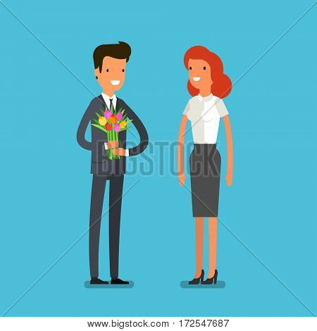 Love and celebrate concept. Man gives a woman a bouquet of flowers. Romantic lovers dating. Flat design, vector illustration.