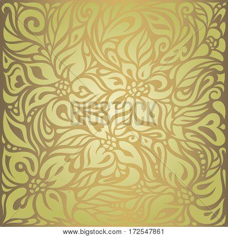 Green & brown floral vintage vector design