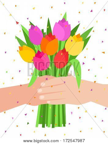 Concept of celebration. Bouquet of beautiful flowers. Man holding a bunch of tulips. Flat design, vector illustration.