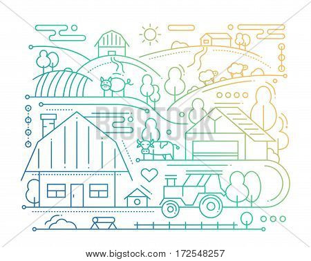 Farm - vector modern simple line flat design city composition with rural scene - color gradient