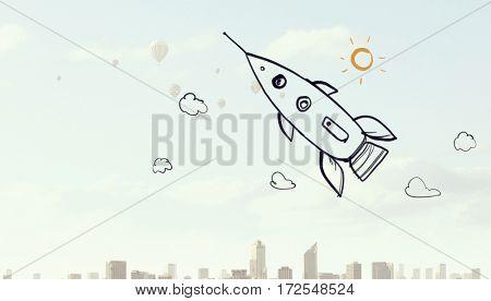 Rocket cartoon image . Mixed media