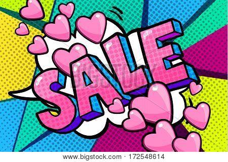 Sale Message in pop art style, promotional background, presentation poster. Flat design, vector illustration.