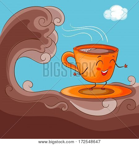 Funny and Happy Cup Character with Cacao Surfing on Chocolate Ocean, Hand Drawn Vector Illustration EPS