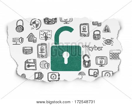 Privacy concept: Painted green Opened Padlock icon on Torn Paper background with  Hand Drawn Security Icons