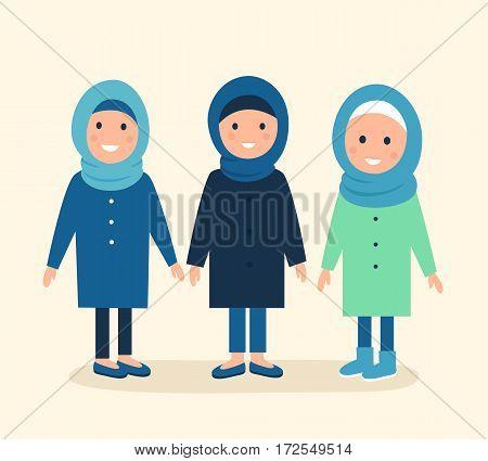 Muslim Girls or Women Wearing Head Covering Hijabs. Vector Illustration