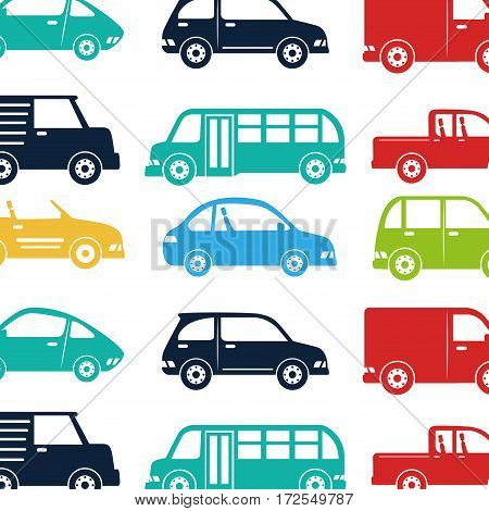 cars vehicles pattern isolated icon vector illustration design