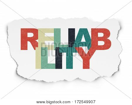Finance concept: Painted multicolor text Reliability on Torn Paper background