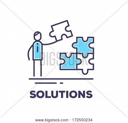 Vector Business Illustration Of A Man Holding A Piece Of Puzzle And Collects It On White Background