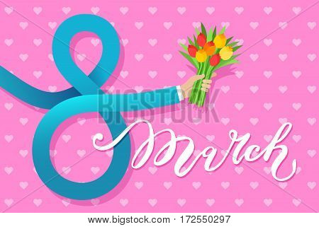 Concept of 8 march congratulation. Businessman hand in the shape of figures 8 holding a bouquet of flowers. Flat design, vector illustration.