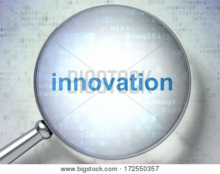 Business concept: magnifying optical glass with words Innovation on digital background, 3D rendering