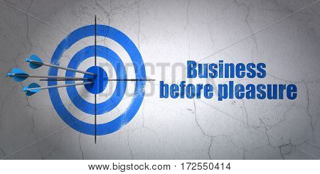 Success finance concept: arrows hitting the center of target, Blue Business Before pleasure on wall background, 3D rendering