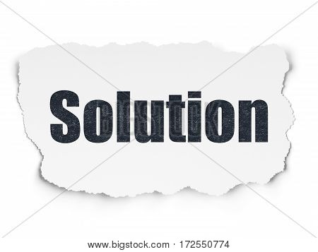 Business concept: Painted black text Solution on Torn Paper background with  Tag Cloud